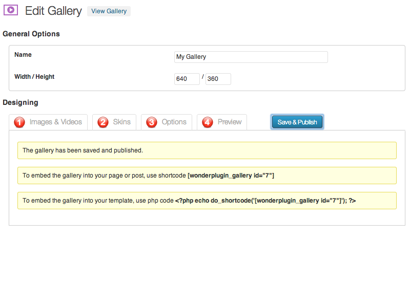 Publish the gallery