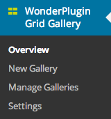 WordPress Grid Gallery Menu