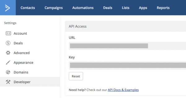 WordPress ActiveCampaign API Key
