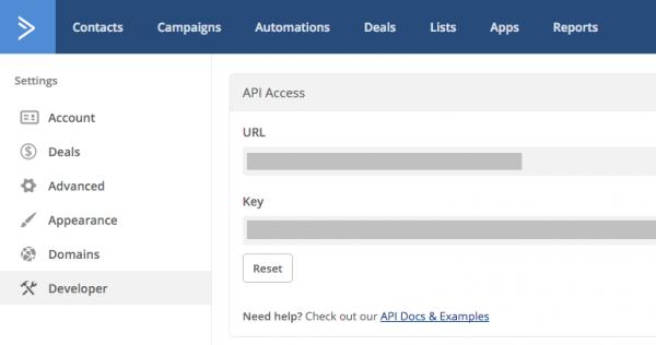 WordPress ActiveCampaign API Key
