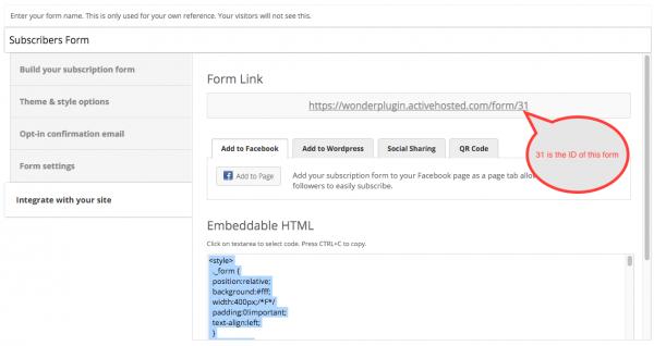 WordPress ActiveCampaign Subscription Form ID