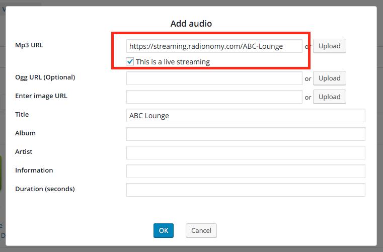 wordpress live streaming audio player