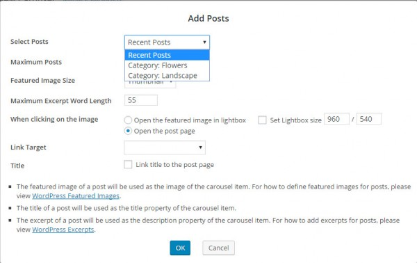 WordPress Post Carousel Add Posts