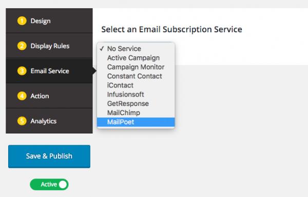 MailPoet WordPress popup