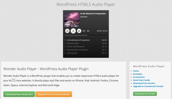 WordPress HTML5 Audio Player | WordPress and WooCommerce Plugins