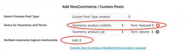 woocommerce featured products carousel category