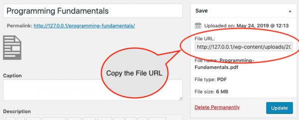 PDF media URL