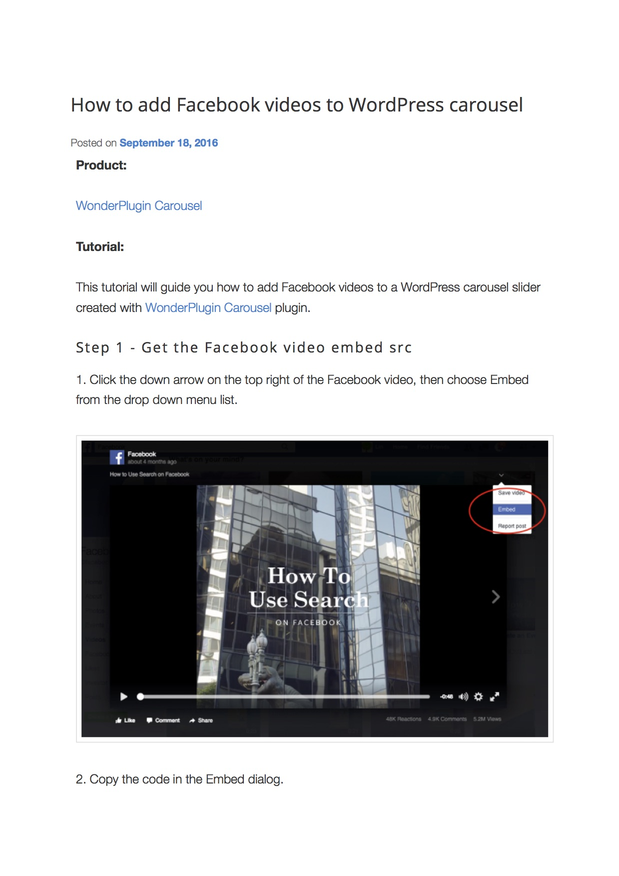 How to add Facebook videos to WordPress carousel