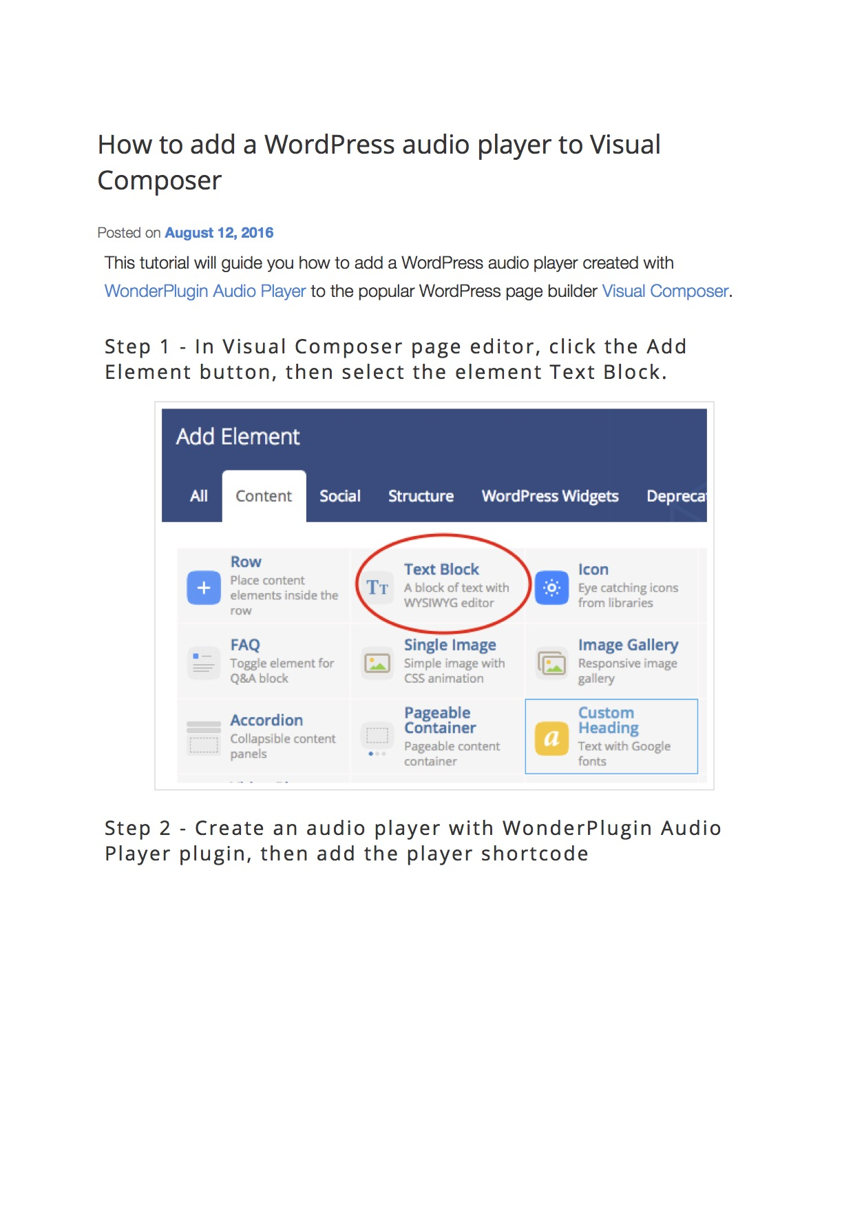 How to add a WordPress audio player to Visual Composer