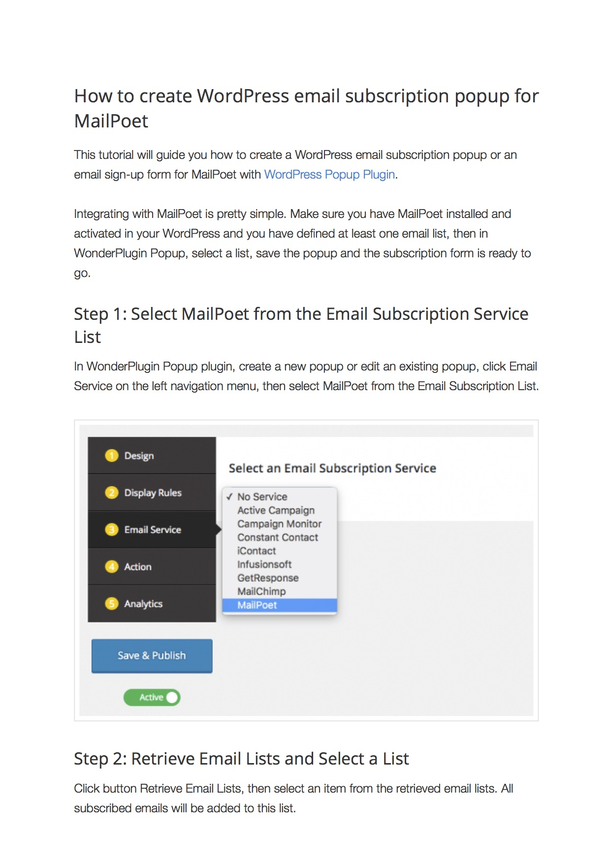 How to create WordPress email subscription form for MailPoet