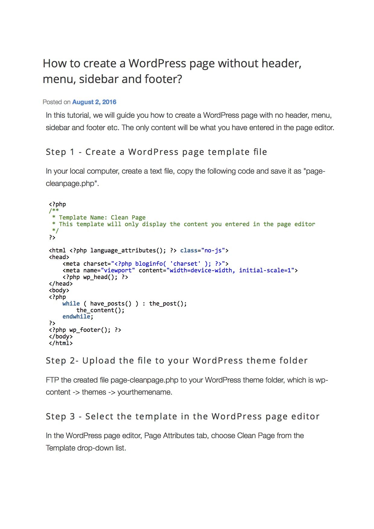 How to create a WordPress page without header menu sidebar and footer