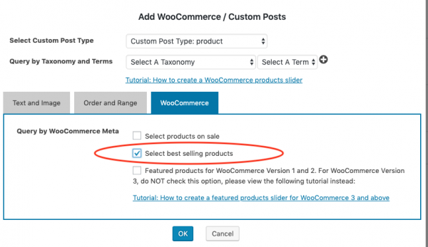 woocommerce best selling products slider