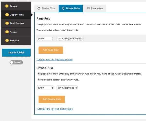 WordPress popup display rules