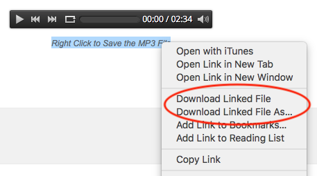 How to add an mp3 download link under a bar audio player