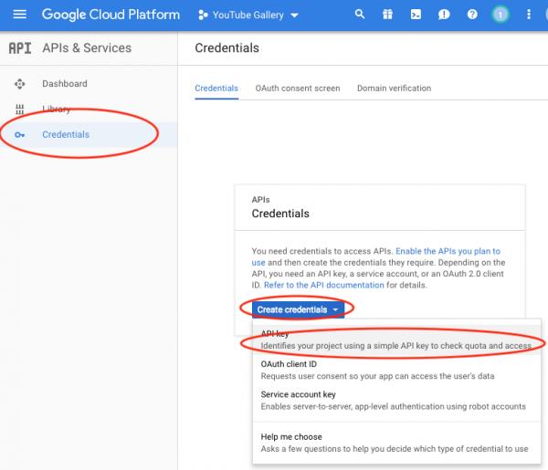 apply for a YouTube API Key