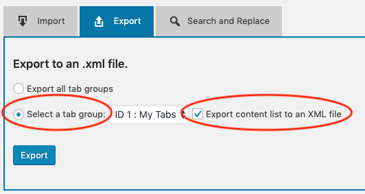 export WordPress tabs to xml
