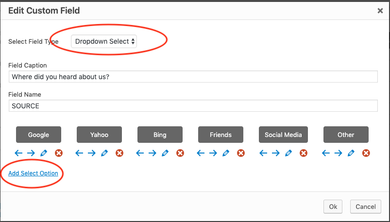 How to add a custom dropdown select list to popup form