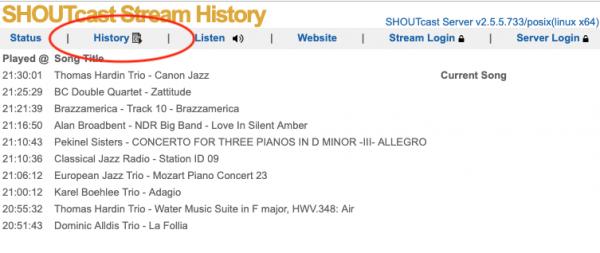 Shoutcast stream history page