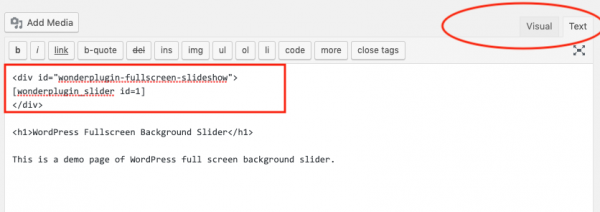wordpress fullscreen slider htmlcode
