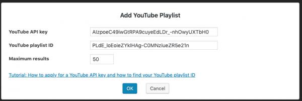 WordPress YouTube playlist gallery