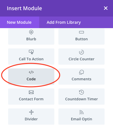 divi add html code