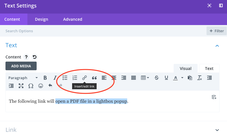 How to open a PDF file in lightbox popup in Divi theme