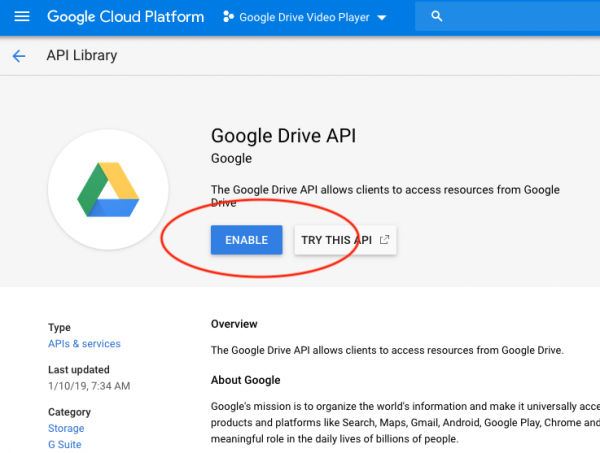 enable google data api