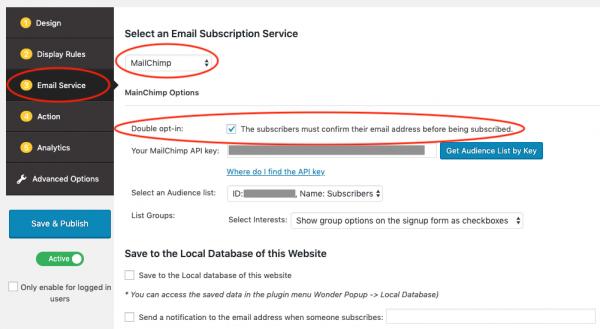 wordpress mailchimp double opt-in