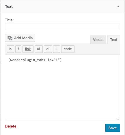 add wordpress tabs to widget
