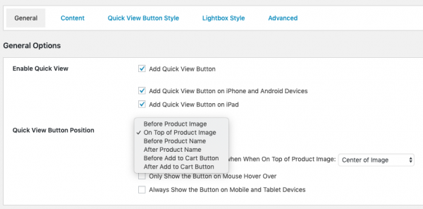 woocommerce quick view button position