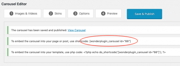 wordpress carousel shortcode