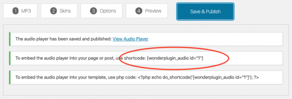 wordpress audio player shortcode