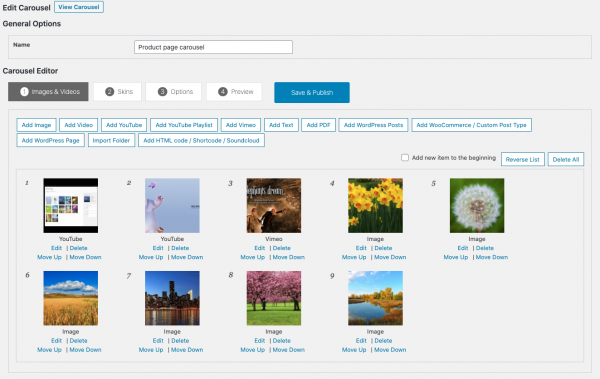Wordpress Carousel Images & Videos