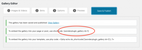 wordpress gallery shortcode