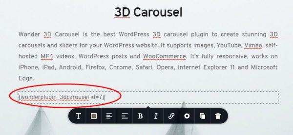 wordpress-3d-carousel-brizy-shortcode